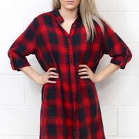 Your Boyfriends Flannel Shirt Dress {Red+Black}