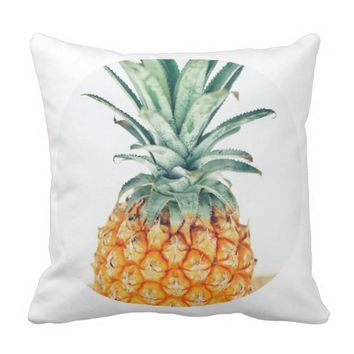 Funky Pineapple In A Circle Throw Pillow Cushion