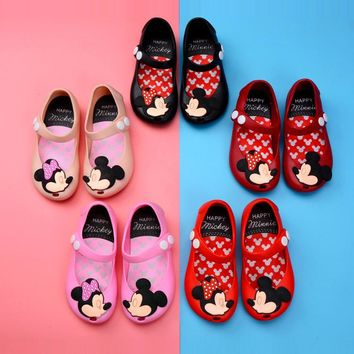 Mini Melissa Mickey Jelly Shoes Sandals Boots Waterproof Shoes Kids Melissa High Quality 13-17CM Girls Sandals