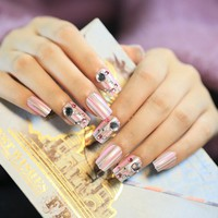 24 PCS Nail Art Tips Pearl White Pink Silver Glitter Striple Fake Nails with Rhinestones Gems Pre Designed False Nail Tips Z386