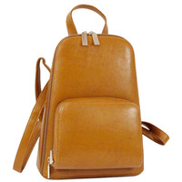 Soft Leather like front pocket backpack bag tan Color: Tan
