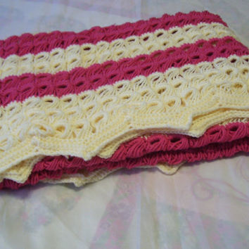 "Women's Afghan / Shawl / Blanket 40"" x 60"" Crocheted In A Feminine Airy//Lacey Romantic Pattern Rose Pink Ivory"