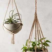 Kiri Wood Hanging Planter by Anthropologie Natural