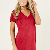 Z Supply Faux Suede Dress In Ruby Red