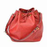Authentic Louis Vuitton Epi Leather Shoulder Hand Drawstring Bag Noe Red Gold LV