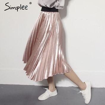 DCCKDZ2 Simplee Autumn satin black long skirt summer Casual smooth women skirt 2016 winter high waist skirt Elastic pink pleated skirt