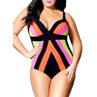 Sexy Spaghetti Strap Color Block Plus Size Swimwear For Women
