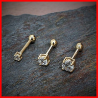 14K Gold Ring Clear Prong Set CZ Cartilage Earring Tiny Stud Earrings Tragus Earring Helix Piercing Tragus Jewelry