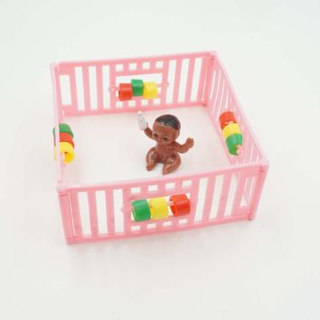 Pink Playpen with Black Baby Cake Topper Girl Baby Shower Decoration