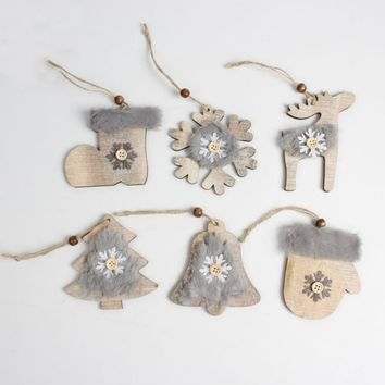 Christmas Wood Fleece Ornaments Rustic Christmas Adornment