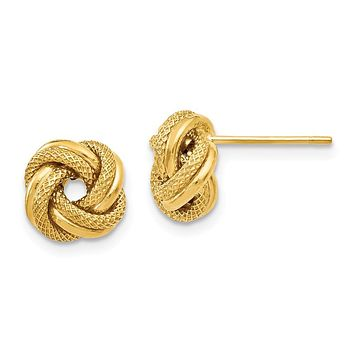 9mm (3/8 Inch) 14k Yellow Gold Polished Textured Love Knot Earrings