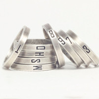 Oxidized letter&number sterling silver band ring, personalized sterling silver ring, stacking ring