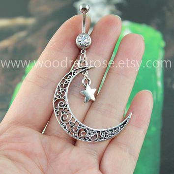 Moon star Belly Button Jewelry hollow moon Belly Ring ,Moon Navel jewelry,crescent belly button jewelry,friendship belly rings
