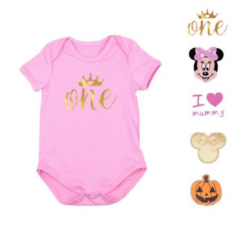 Newborn Baby Clothes Short Sleeve Girl Boy Rompers Infant Bebe Halloween Costumes Birthday Party Princess Romper Pumpkin Roupas