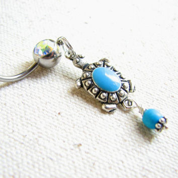 Turquoise Turtle Belly Button Ring - Silver Turquoise Belly Button Jewelry, Cute Belly Ring, Turtle Bellybutton Ring, Belly Piercing Navel