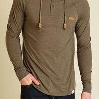 tentree Hamilton Henley Long Sleeve Hoodie for Men in Dark Olive MLHAM-DOLV