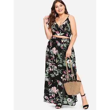 Surplice Neck Floral Cami Top & Skirt Set