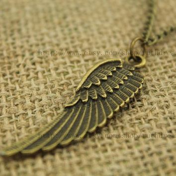 the Angel wings necklace Antique personalized jewelry steampunk Unique gift vintage bronze