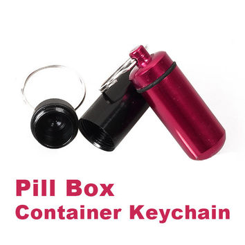 2017 Aluminum Pill Box Bottle Holder Container Keychain