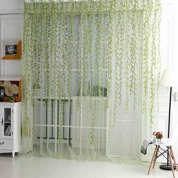 Willow Pattern Voile Window Curtain Sheer Panel Drapes Scarfs 1M*2M Green