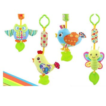 Baby Rattles & Mobiles With Teether Baby Toys Bird/Butterfly/Owl/Chicken Animals Dolls Stroller Crib Hanging Wind Chimes
