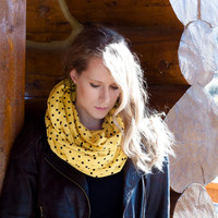 Yellow Polka Dot Scarf, Yellow Infinity Scarf, Black Dot Scarf, Wide Circle Scarf, Cute Retro Women Accessory,