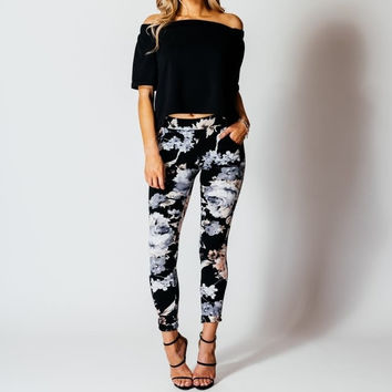 SKINNY TROUSER FLORAL PRINT POCKETED