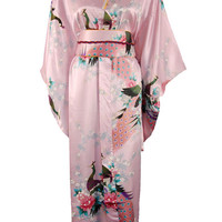 Pink Traditional Japanese Women's Silk Satin Kimono