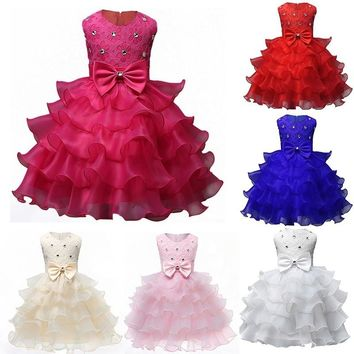 Fashion 2017 Wedding Christening Girl Events Kids Ruffles Lace Dresses for Girls Princess Tutu Dress for Baby Party Dress Wear G