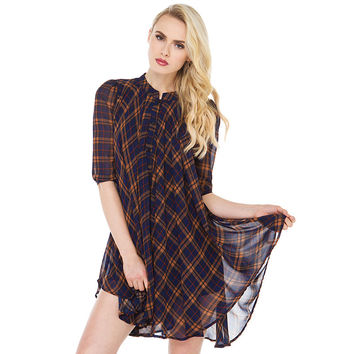 Yellow and Blue Plaid Flounced Chiffon Dress
