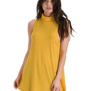 Lyss Loo Topanga Mustard Sleeveless Turtleneck Top