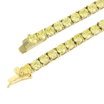 "Canary Lab Diamond Necklace 1 Row Gold Over Stainless Steel 4 MM Mens 30"" Tennis"