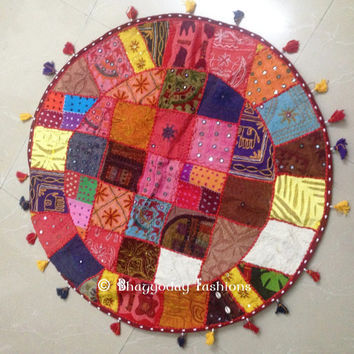"32"" Round Floor Pillow floor Cushion Bohemian Patchwork floor cushion pouf ottoman Vintage Indian Foot Stool Bean Bag Floor Pillow pouf"