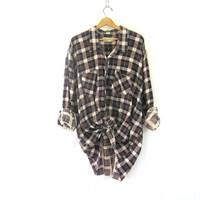 Vintage Plaid Flannel / Grunge Shirt / Oversized button up shirt / washed out flannel