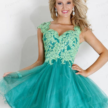 Free Shipping New Short Mini Ball Gown Puffy Prom Dresses Sweetheart Appliques Tulle Cocktail Dress 2014 With Keyhole Back CD002