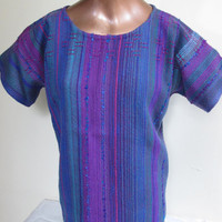 Blues and purples, Hand woven top, Huck's lace yoke