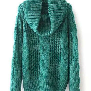 Green Turtleneck Knit Long Sleeve Sweater