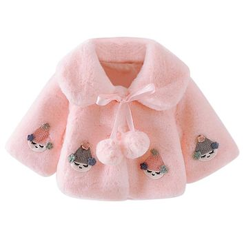 Winer Baby Clothing Sweet Infant Baby Girls Cute Pink White Princess Clothing Cozy Winter Coat Soft Warmer Jacket