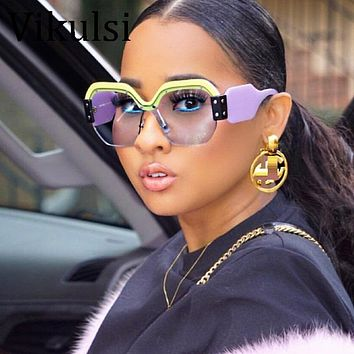 Rimless Oversized Sunglasses Women Vintage Luxury Brand Sun Glasses For Female Rivet Big Frame Male Shades
