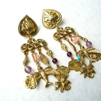 Jewelry Sale 80s Charm Earrings, Vintage Dangle Earrings, Victorian Revival Earring