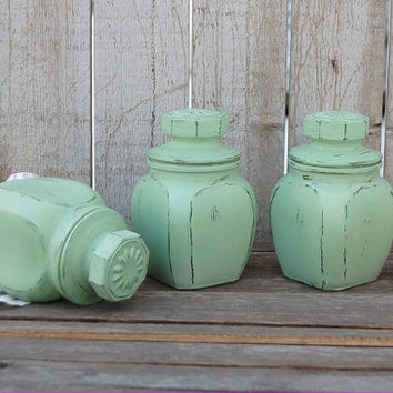 Spice Jars, Tea Jars, Canister Set, Bathroom Jars, Shabby Chic, Sage Green, Glass, Painted, Distressed
