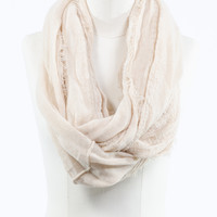 Latte Frayed Infinity Scarf