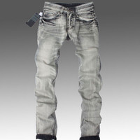 High Quality Mens Jeans Famous Brand Designer Straight Slim Gray