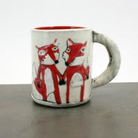 Fox mug: fox couple holding hands, woodland coffee tea cup -red, black, white - original animal mug, made to order, valentines love gift