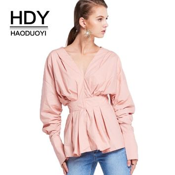 Solid Pink Women Sweet Shirts Puff Sleeve V-Neck Ruffles Buttons Female Casual Elegant Blouses Lady Fashion Tops