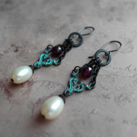 Eclectic patina earrings / garnet, freshwater pearls