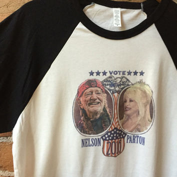 "Unisex willie nelson and Dolly Parton Baseball Tee retro ""Vote Nelson Parton 2016"" black and white raglan tee baseball jersey 70s 80s style"