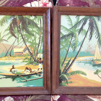 Vintage Pair of Hawaiian Paint By Number Very Kawaii Tikki Early 1960s