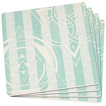 PEAPGQ9 Summer Sacred Geometry Teal Stripes Set of 4 Square Sandstone Coasters