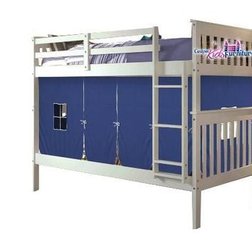 Sawyer White Bunk Bed for Kids with Tent